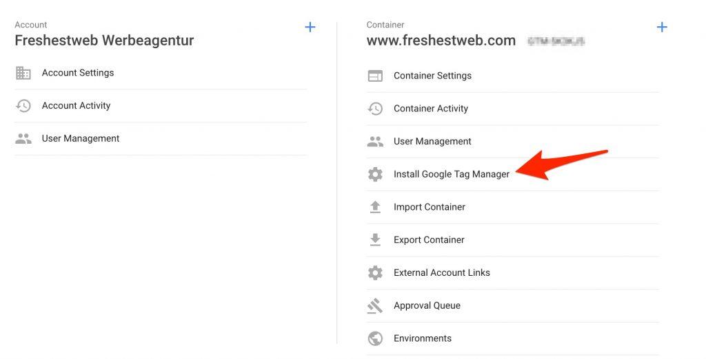 GTM google tag manager install code - freshestweb