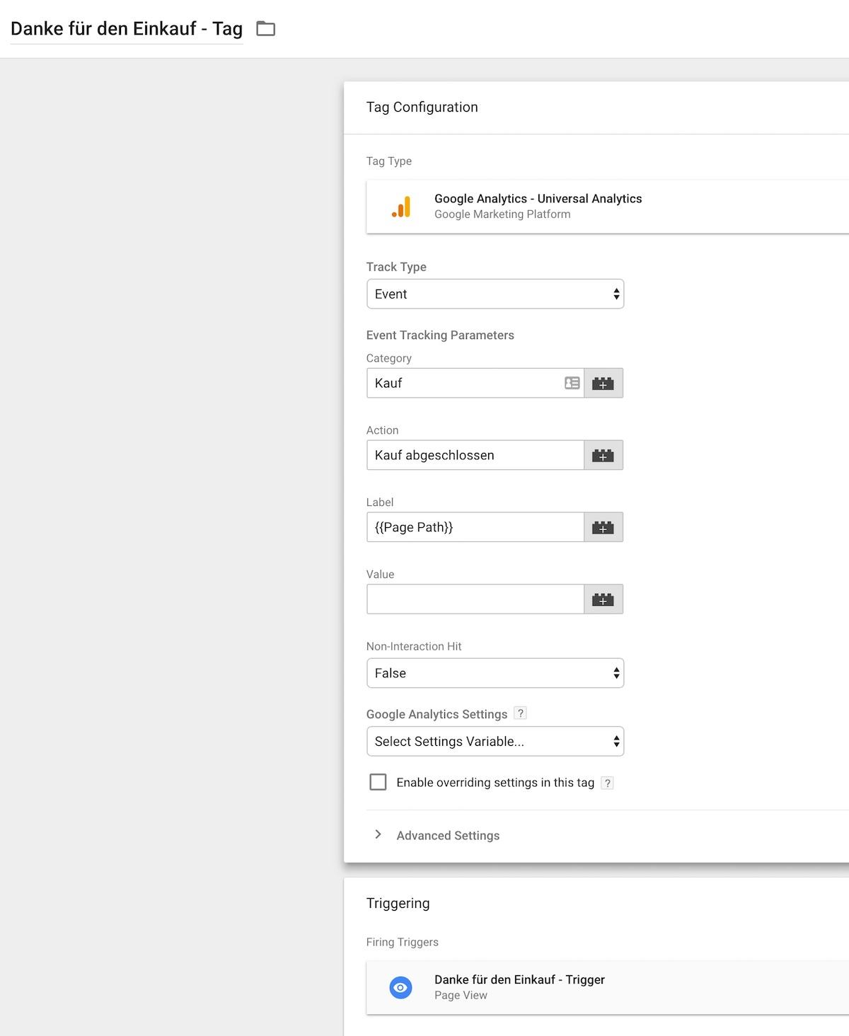 danke für den Einkauf Tag - google Tag Manager Events und Goal tracking