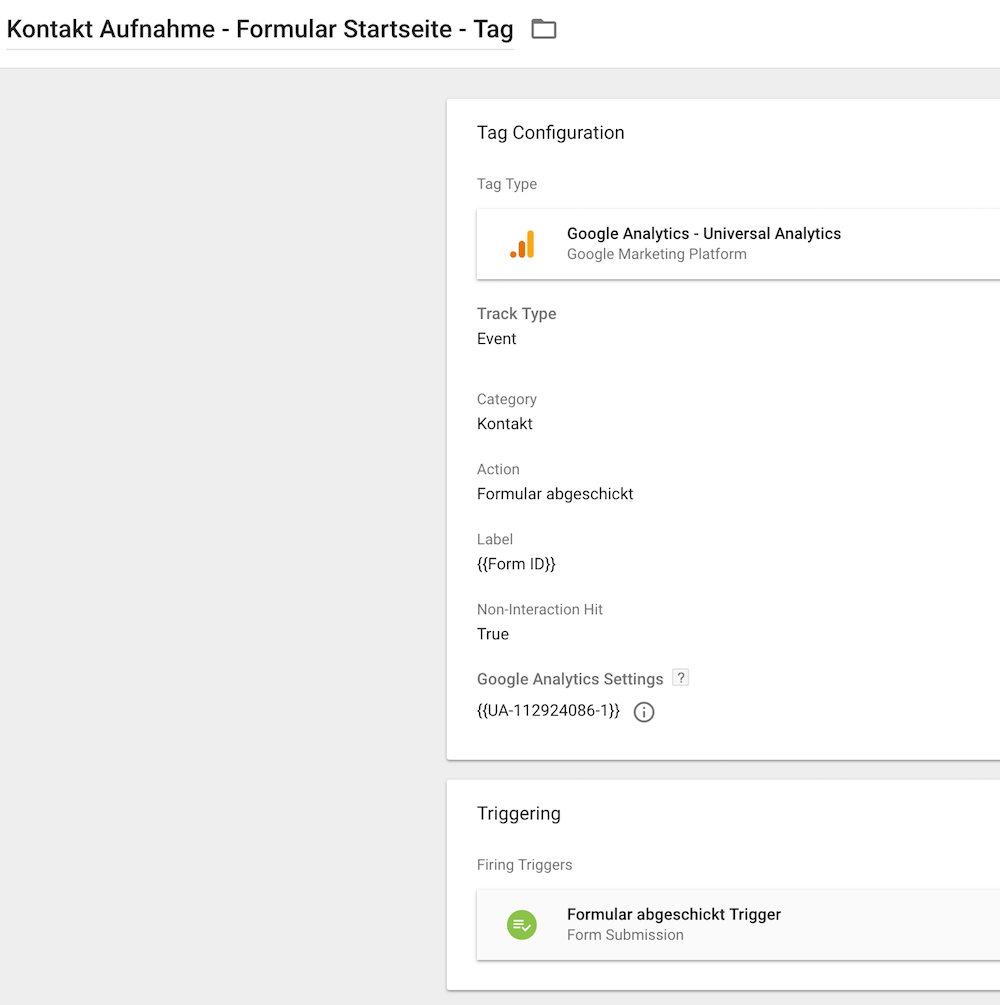 formular tracking - google Tag Manager GTM tag klein