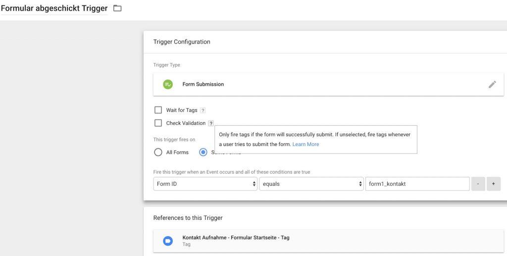 formular tracking - google Tag Manager GTM trigger klein