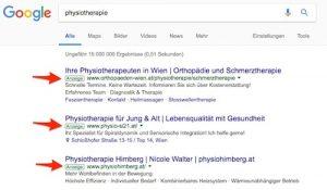 google sea sem adwords text anzeige beispiel physiotherapie - freshestweb klein