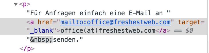 html code kontakt mailto GTM tag trigger