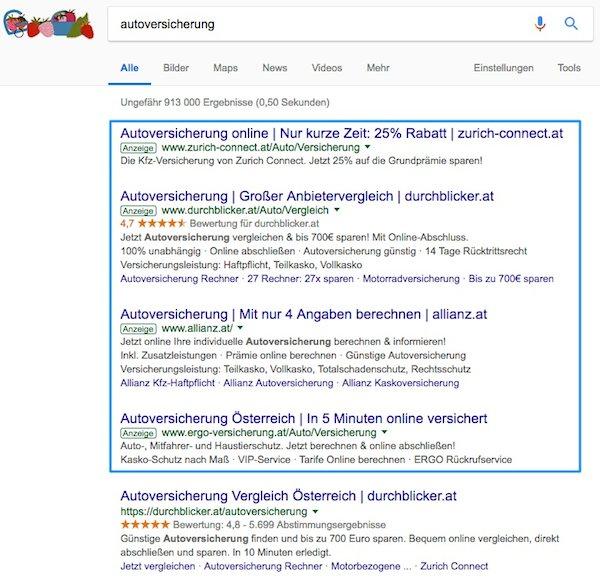 autoversicherung google anzeigen adwords keyword targeting möglichkeiten beispiel v2