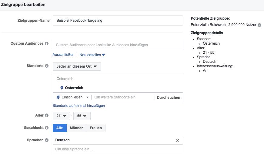 facebook anzeigen - soziodemographisches targeting