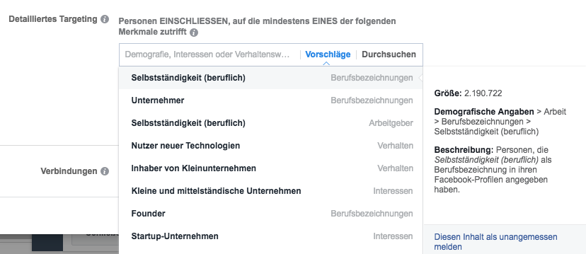 facebook detailiertes targeting - interessen