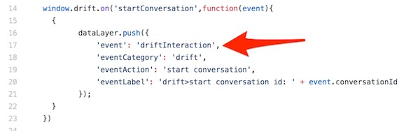 drift chat interaction event tracking GTM google tag manager